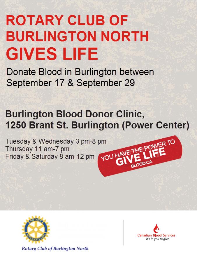 Rotary Burlington North Blood Drive