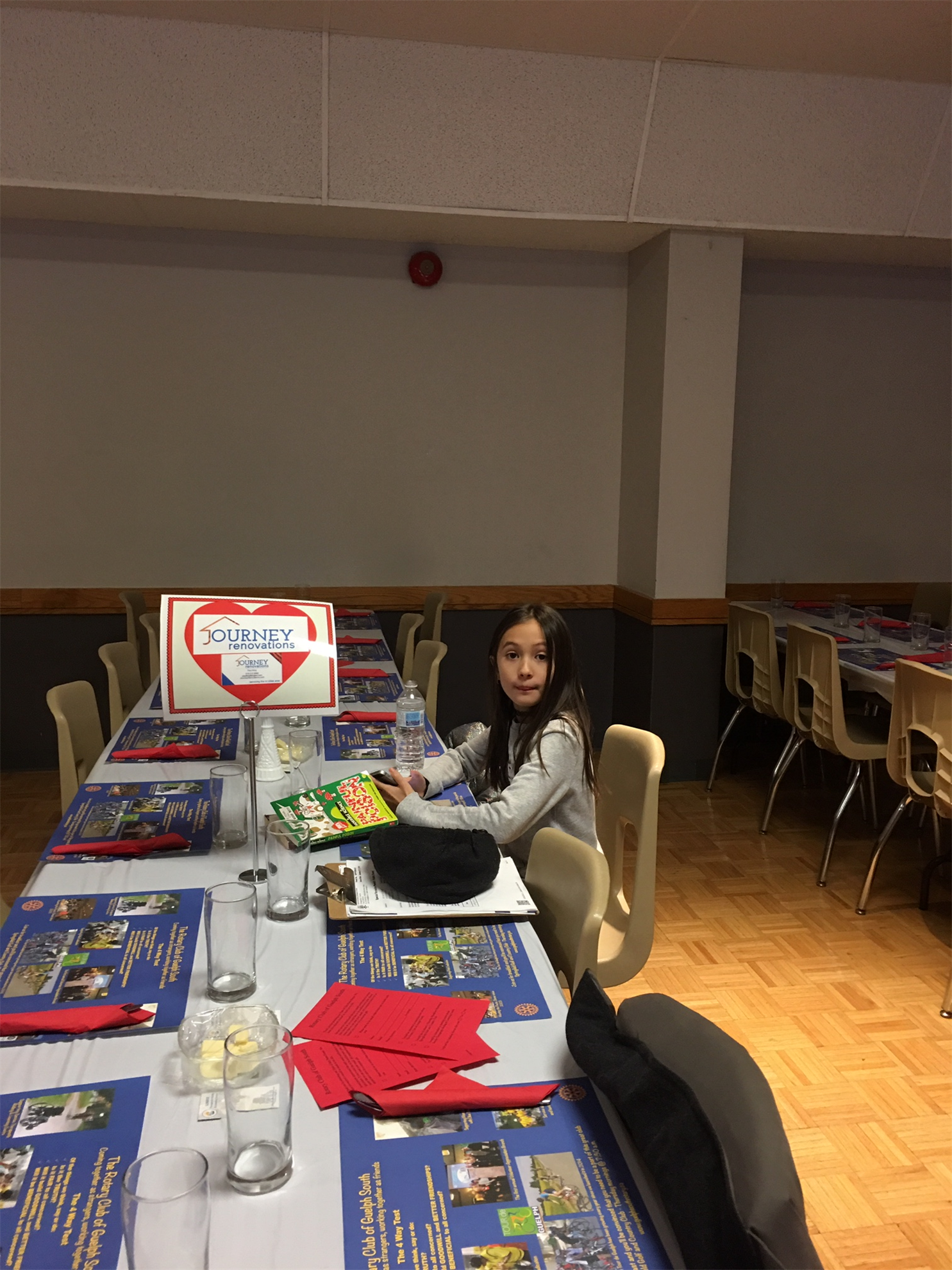 Youngster ready for dinner at the Journey Renovations-sponsored table