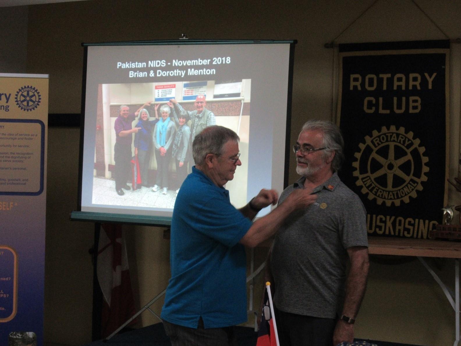 Bert Godin Receiving President's Pin