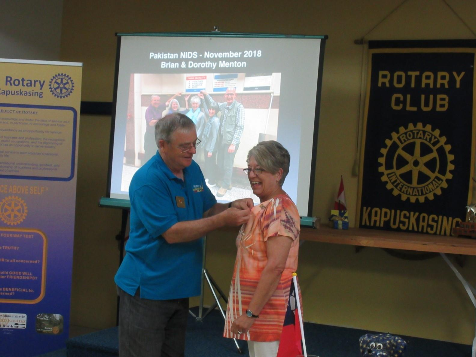 Linda Rody receiving her Past President's Pin.  Congratulations on a great year.