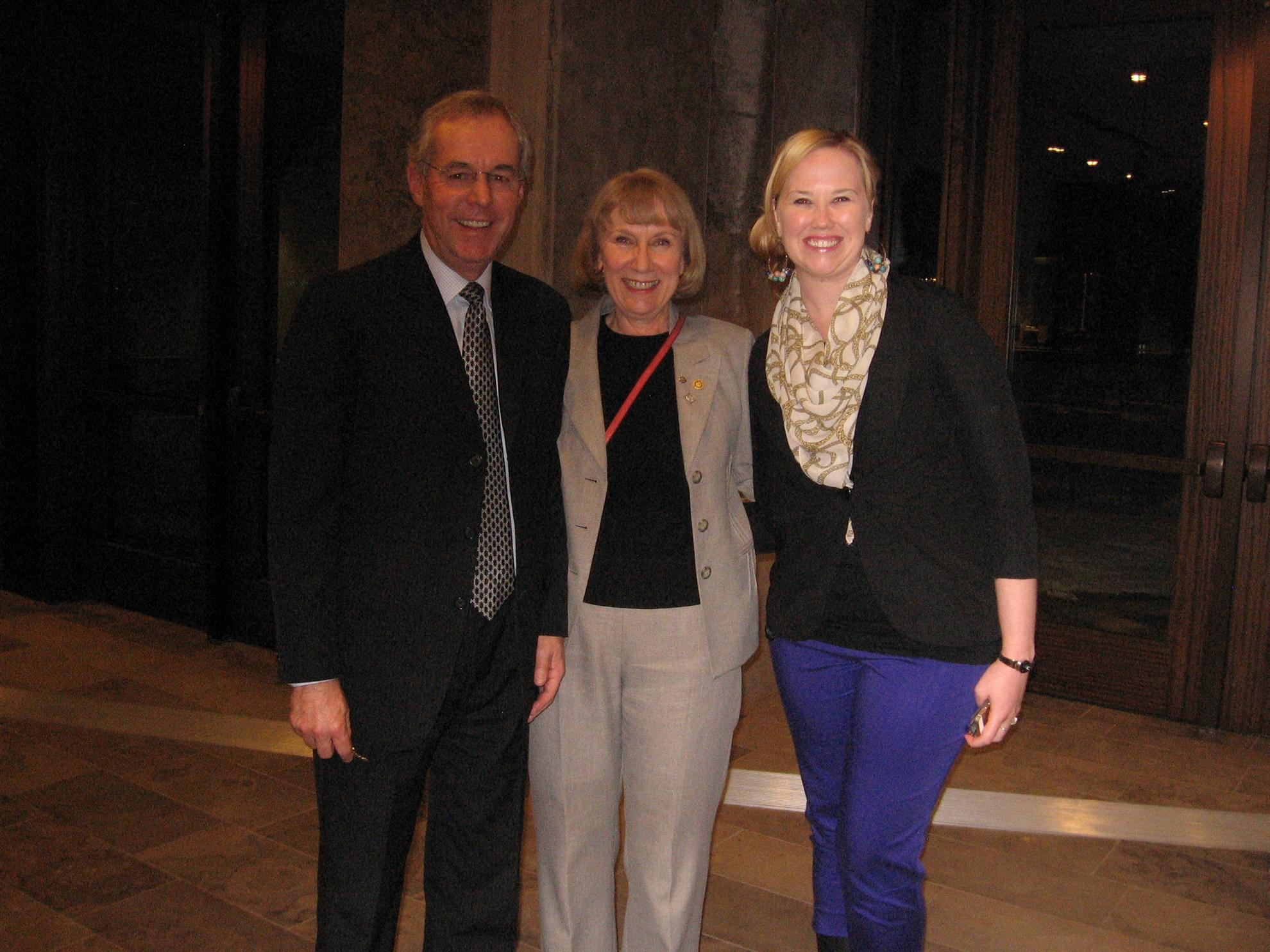 John Irwin (CFO Ivey School of Business), Barbara Robins (Rotarian)  and Kristen Rajnovich (Project Manager, Ivey School of Business)