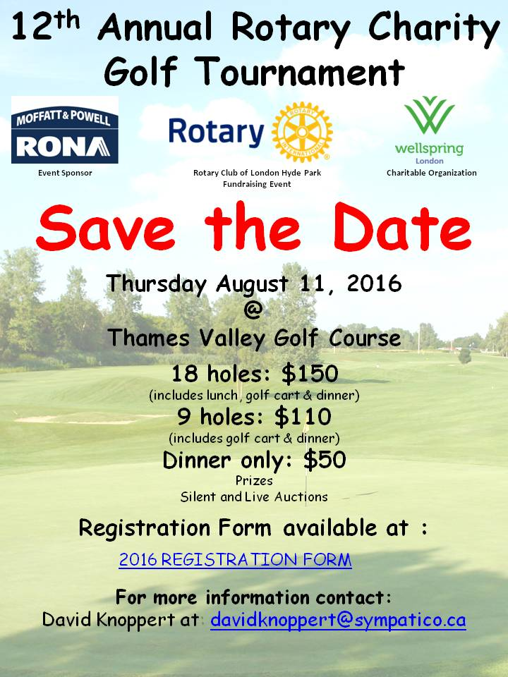 12th Annual Charity Golf Tournament - Save the Date | Rotary Club of