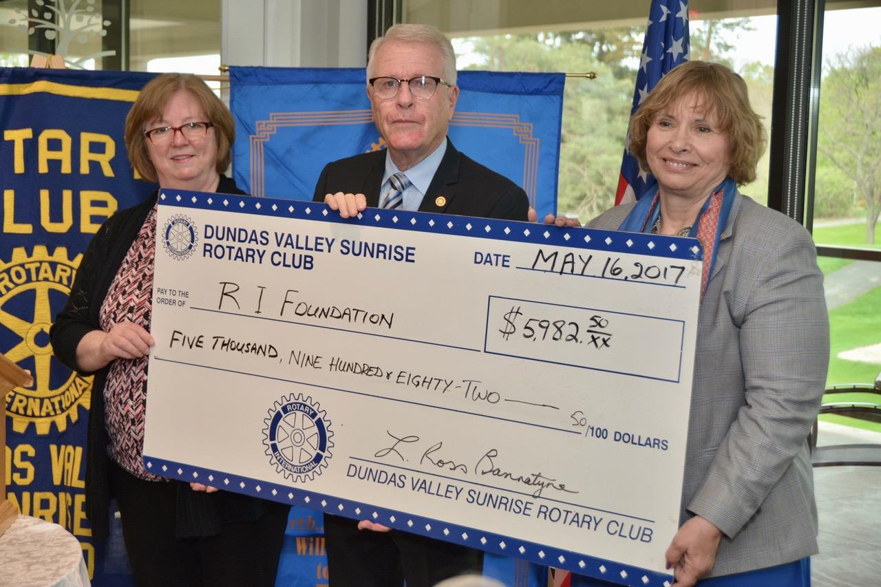 Club President Ross Bannatyne and Foundation Chair Shirley Molloy presented a cheque to District Governor Marlee Diehl for nearly $6000 in support of the works done by the Rotary Foundation.  This was in addition to the amount presented ($5000) when DG Marlee came to visit the club last fall.