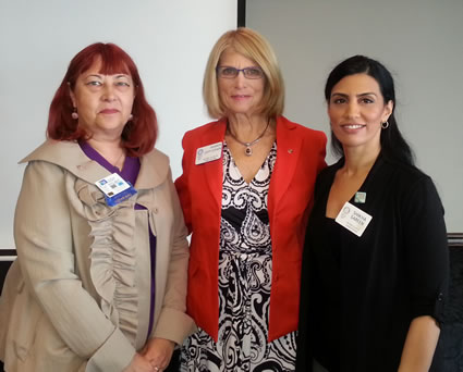 Sponsoring member Judy Dolbec, new member Sharon Levy-Cohen, club president Shikha Sareen