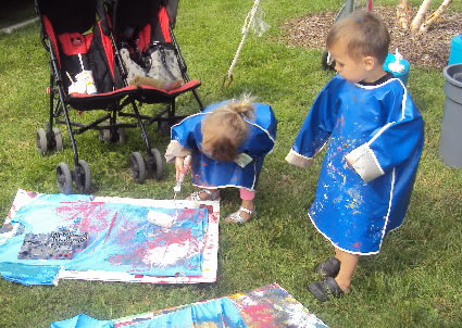 children paint at Imagine in the Park