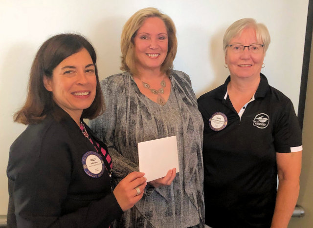 Rotarian Kelly Isfan, Speaker Teresa Syms and President-Elect Margaret Bancroft