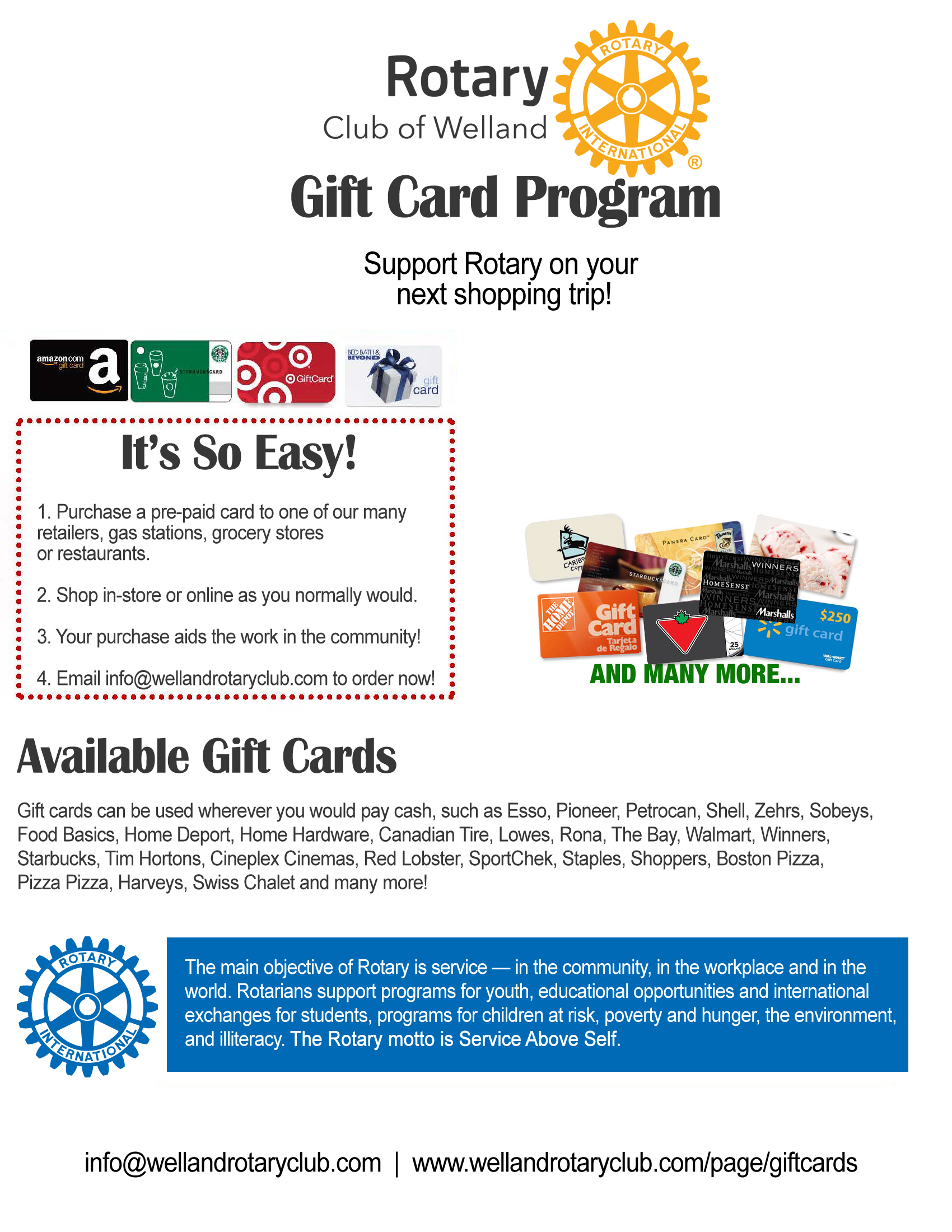 Gift Cards | Rotary Club of Welland