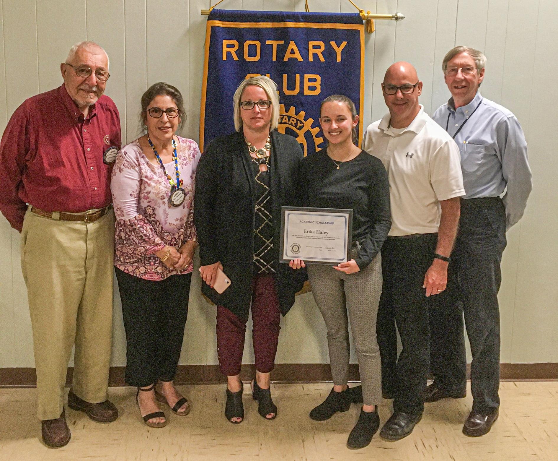 (L to R):  Dr. Larry Cappiello, Maria Biano, Lisa Haley (mother), Scholarship Recipient Erika Haley, Shawn Haley (father), Steve Cotten (all Rotarians are members of the Scholarship Committee).