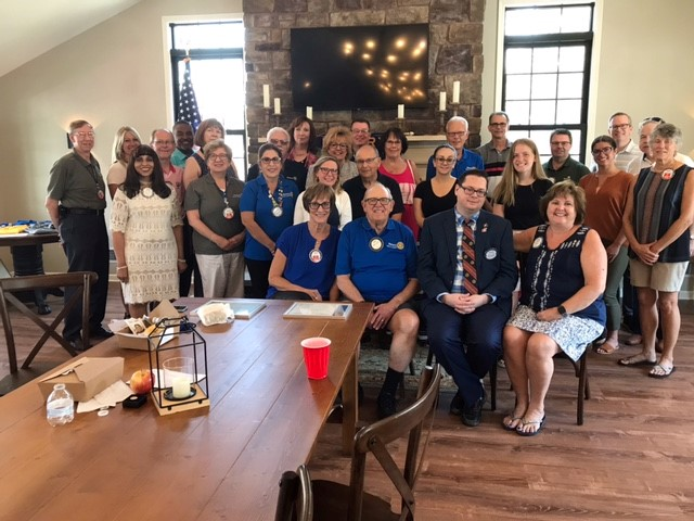 : At Rotary Club of Lockport's annual transition meeting, June 29th, 2021, members posed for a photo at the end of the meeting at Simply Ems on Lincoln Avenue in Lockport.