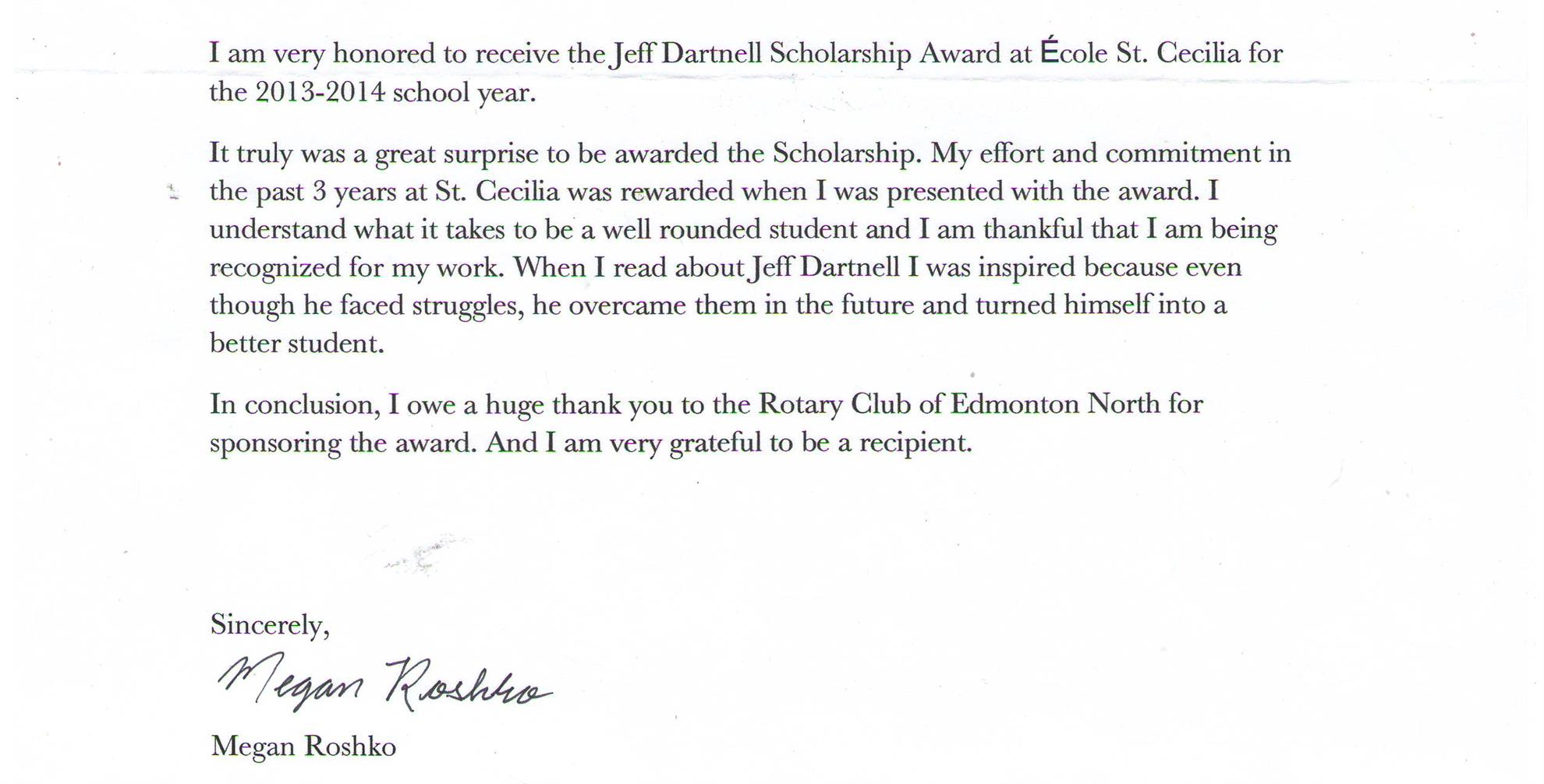 Jeff Dartnell Scholarship Award ThankYou – Thank You Letter for Scholarship Award