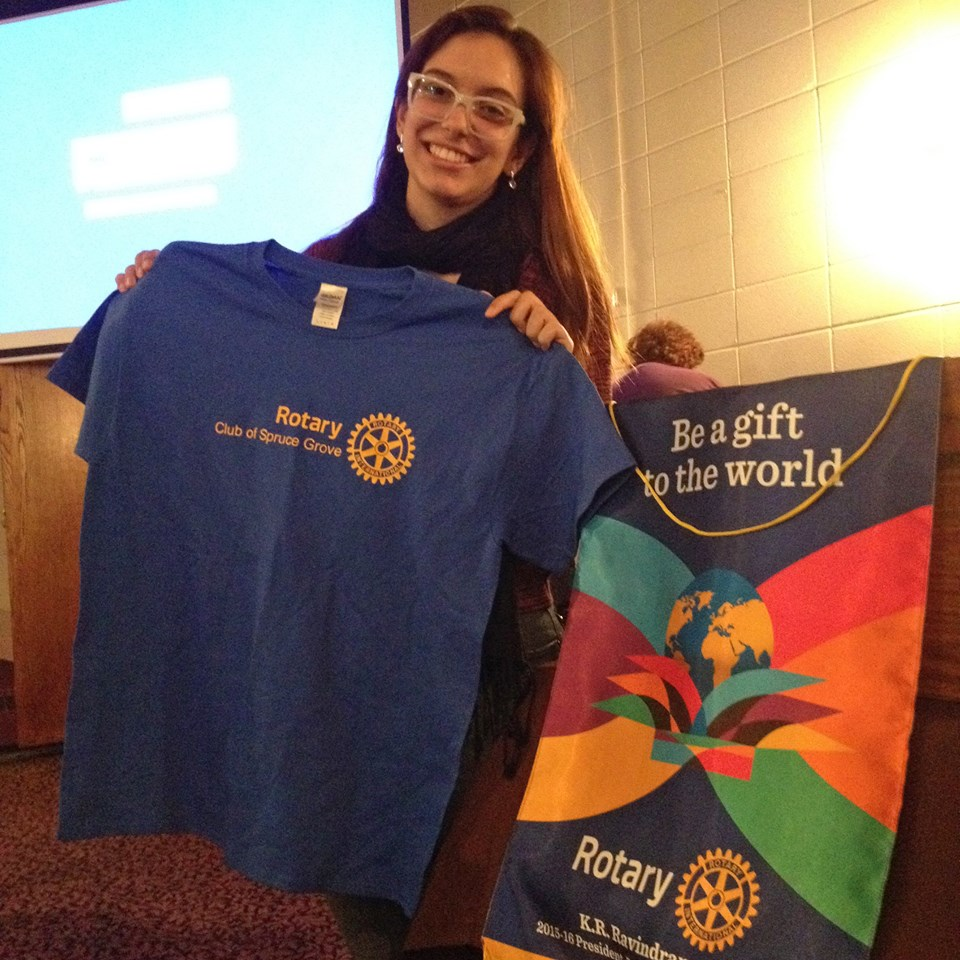 Stories Rotary Club Of Spruce Grove Hoc Premium Double Breasted Black Suit Looking For Some Swag Exchange Student Julia Soires Vieira Is Selling T Shirts 20 Each As A Fundraiser Shelterbox