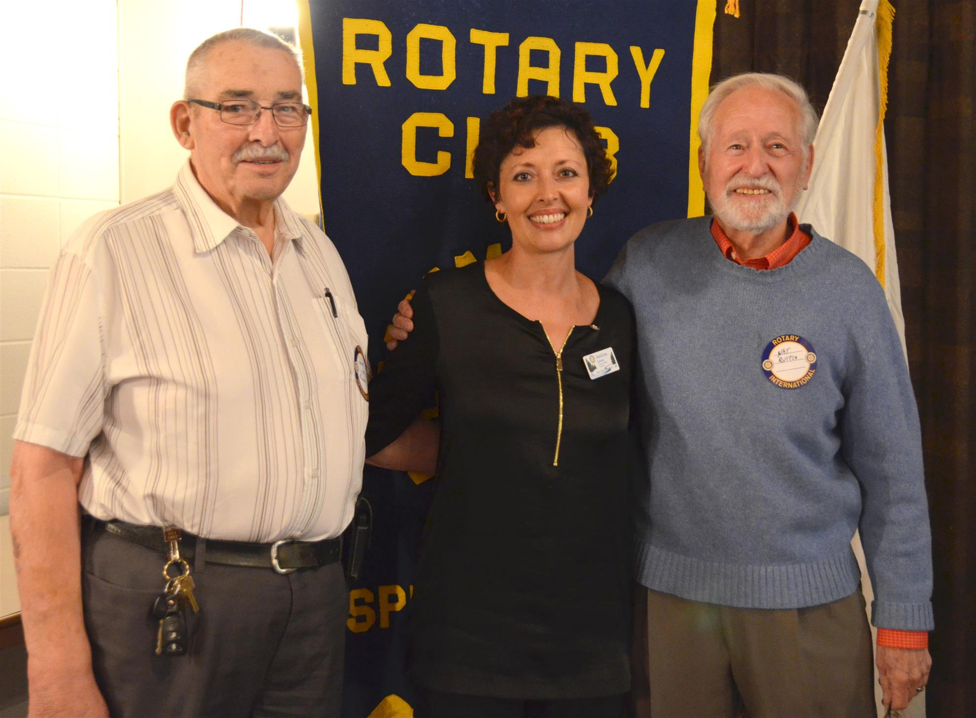 Below: Rotary Club of Spruce Grove president AnnLisa Jensen thanks Dick  Lutz and Nat Rutter for their presentation.