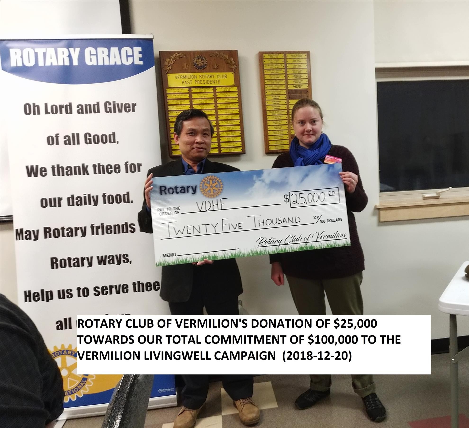 2018-12-20 Donation to Living Well Campaign   Rotary Club of Vermilion