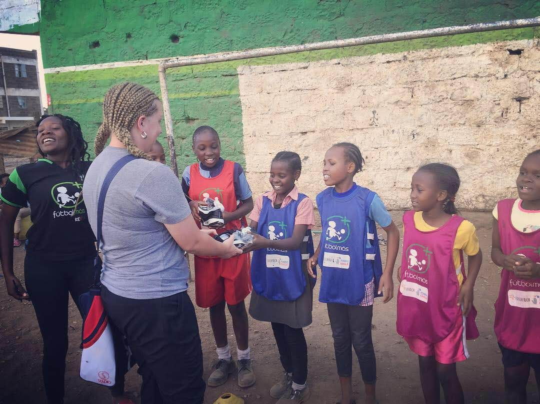 Students from the Mathare slum were delighted to receive soccer cleats