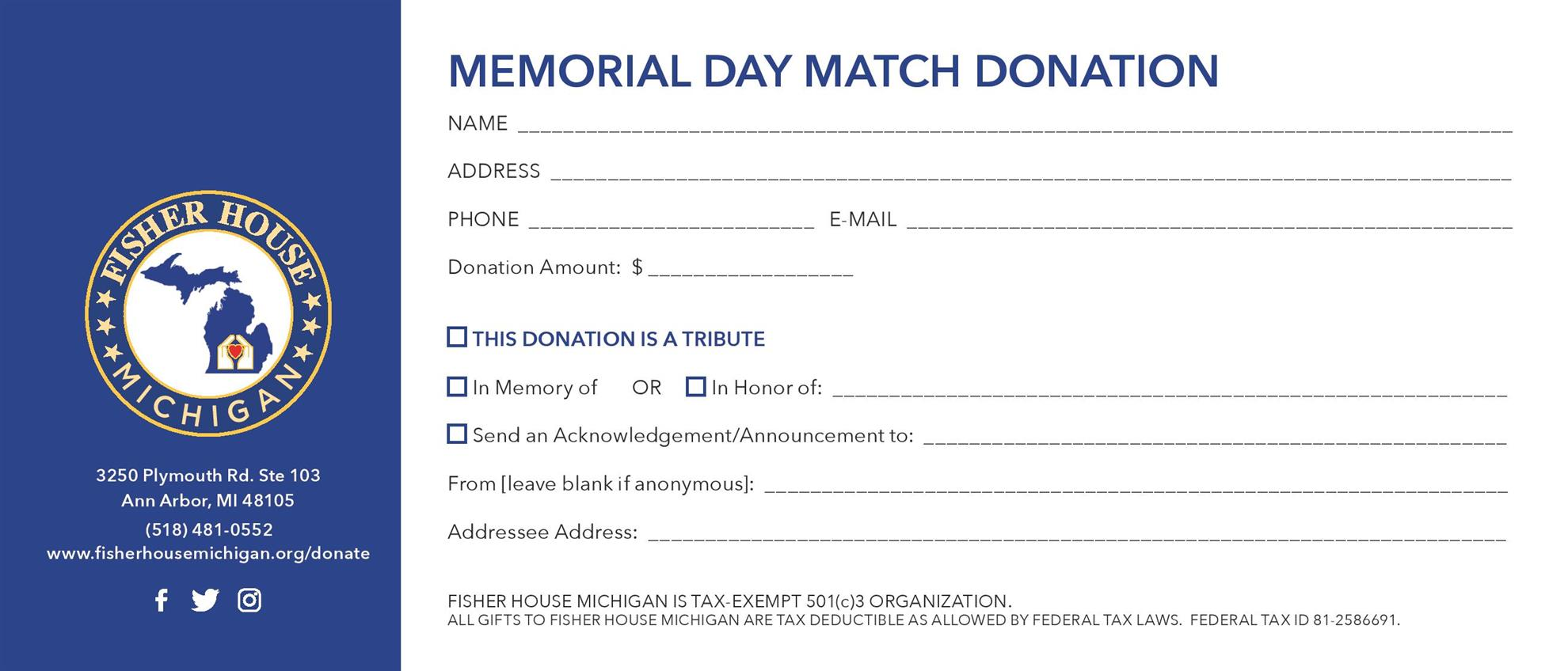 Memorial Day Match Card - Back