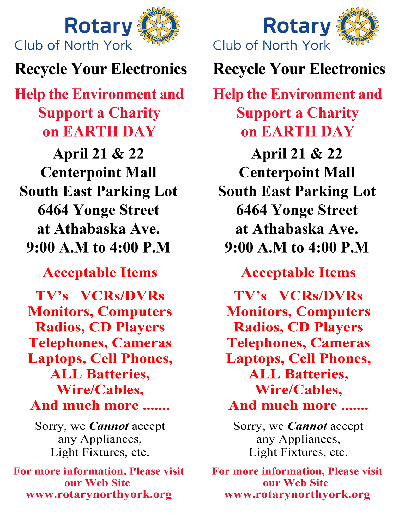 Recycle Your Electronics Rotary Club Of North York We The Following And Much More Spring Is Fast Approaching You Are Probably Preparing For Yearly Tradition Cleaning Most Will Have A Couple Old Cell Phones Lying