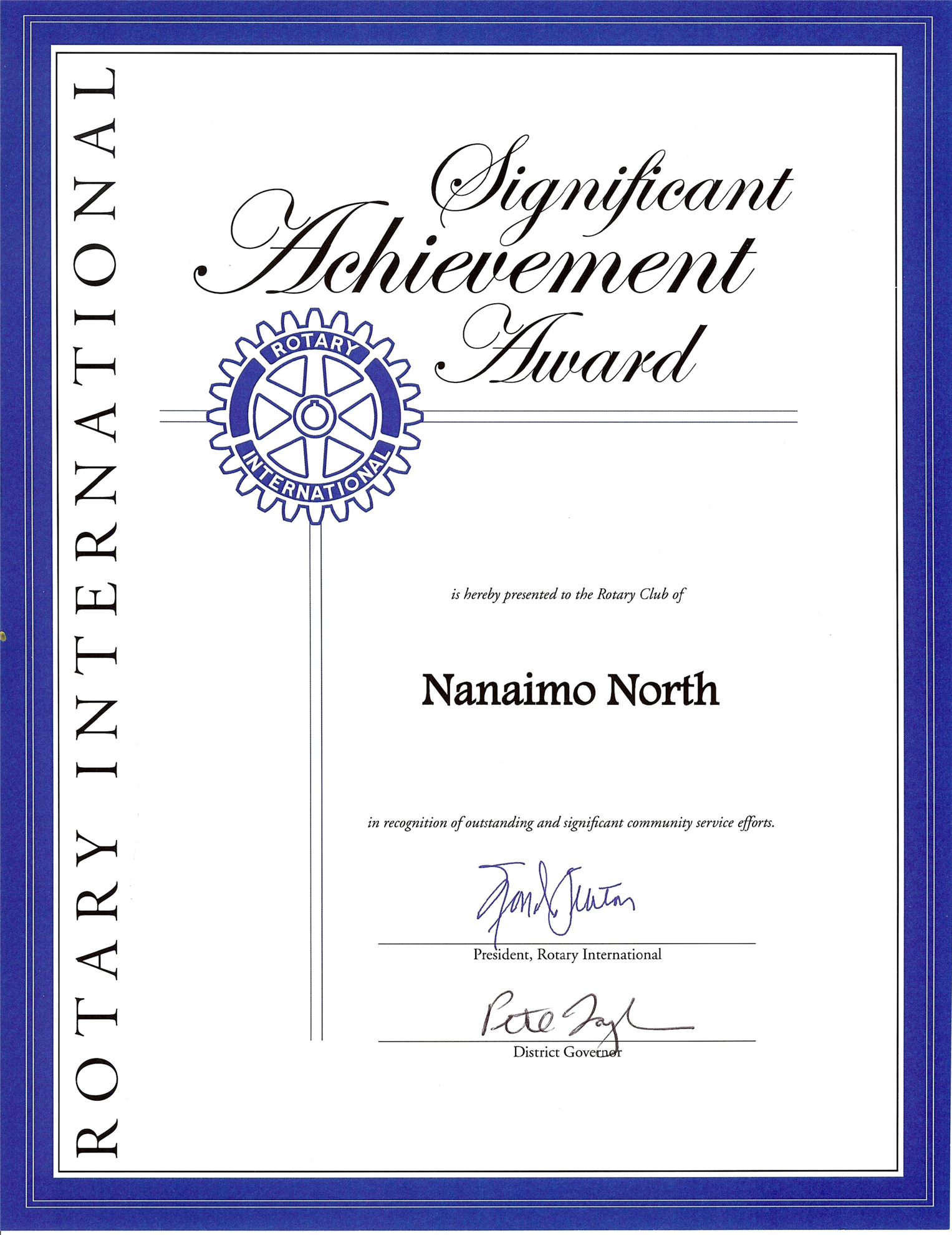 Club receives Rotary International Significant Achievement ...