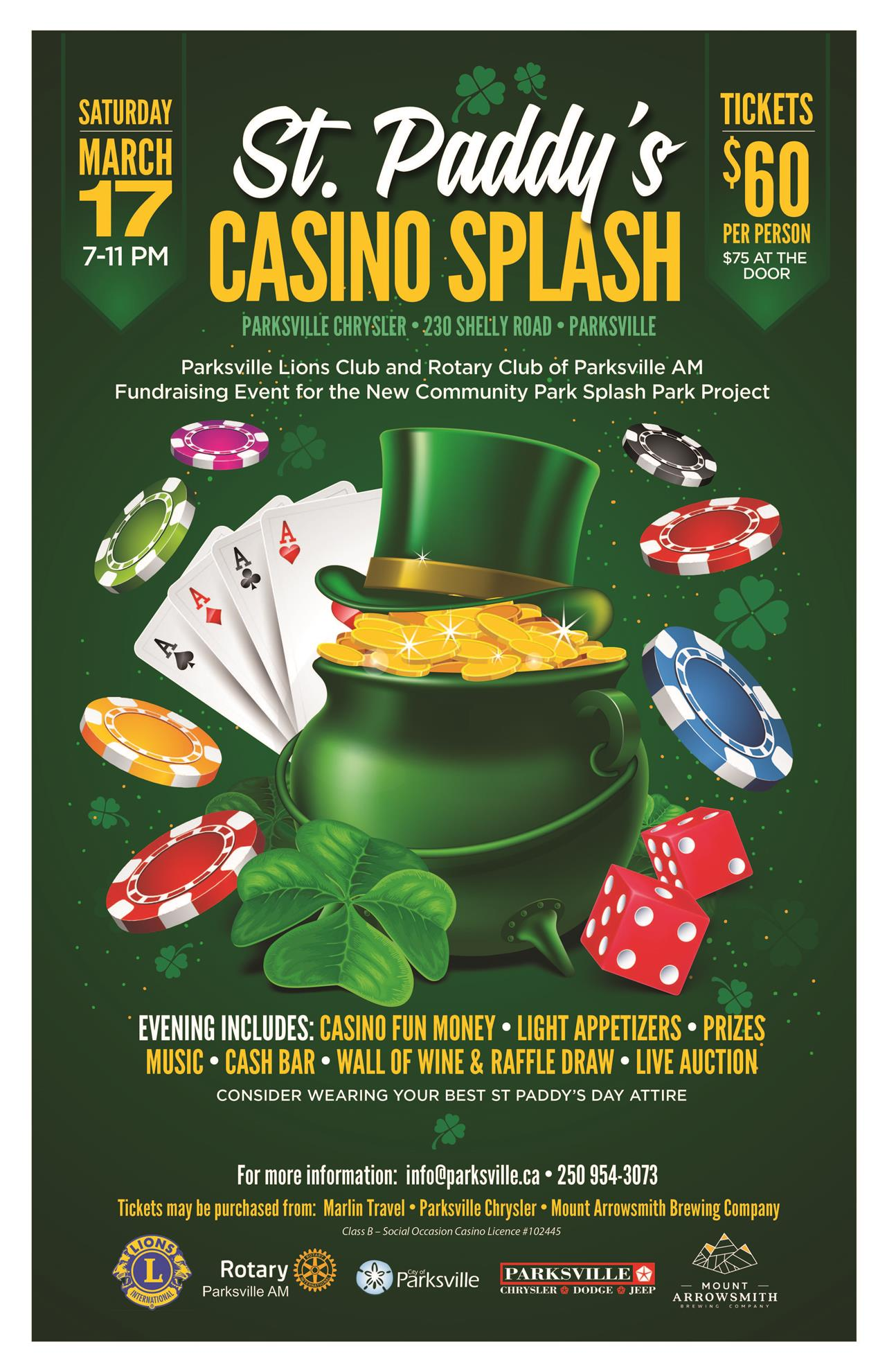Stories Rotary Club Of Parksville Am Marlin Model 9 Camp Carbine Schematic Car Tuning St Paddys Casino Splash Fundraising Event March 17