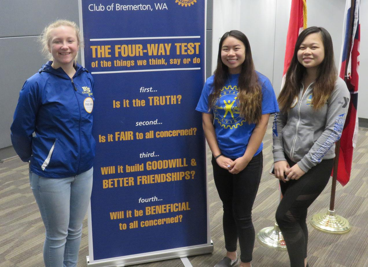 Left: Bremerton High School Interact Club members, Andi Wiren, Valencia  Tang, and Cammi Liu