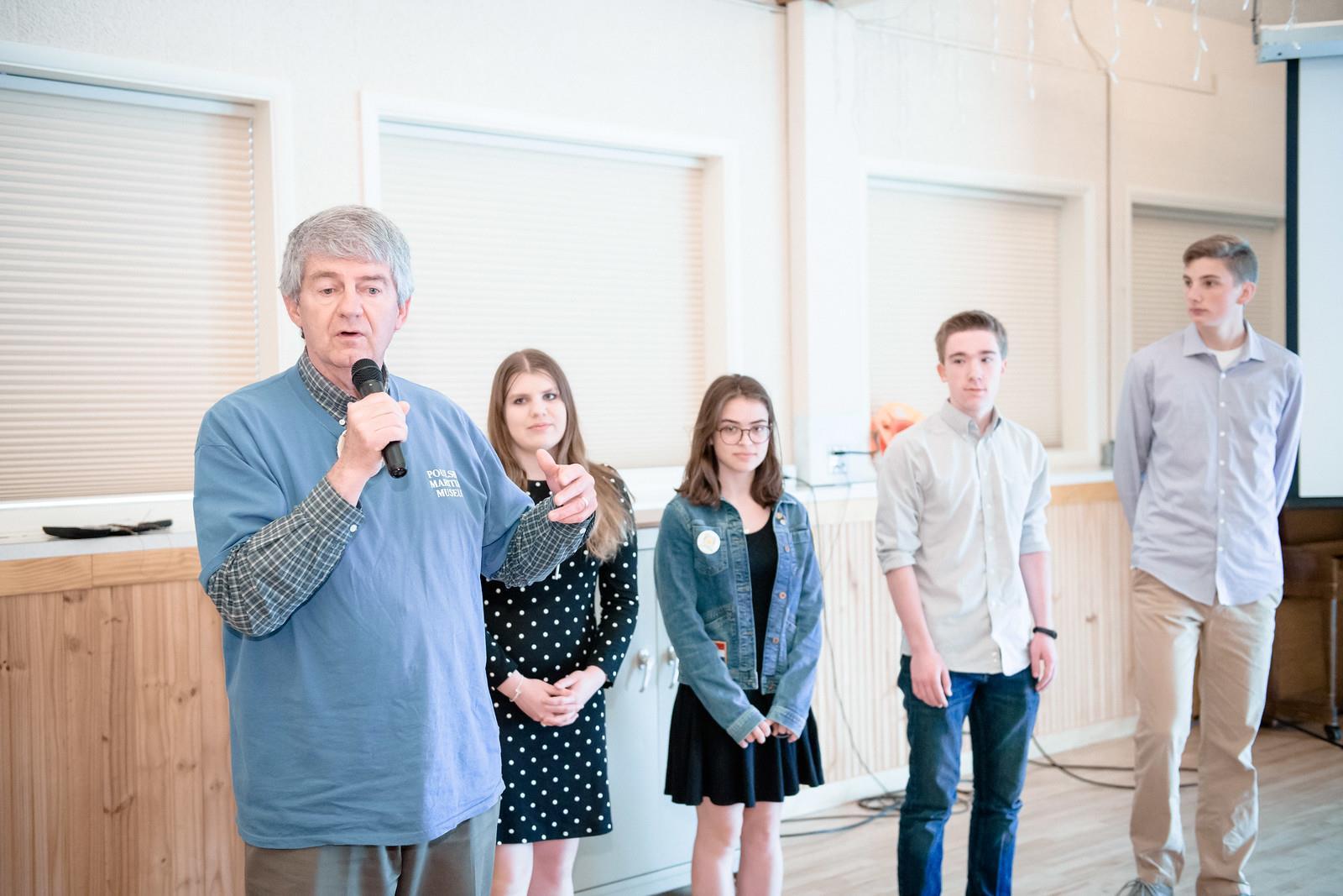 Poulsbo Rotary Scholarship Winners with Bob Hawkinson