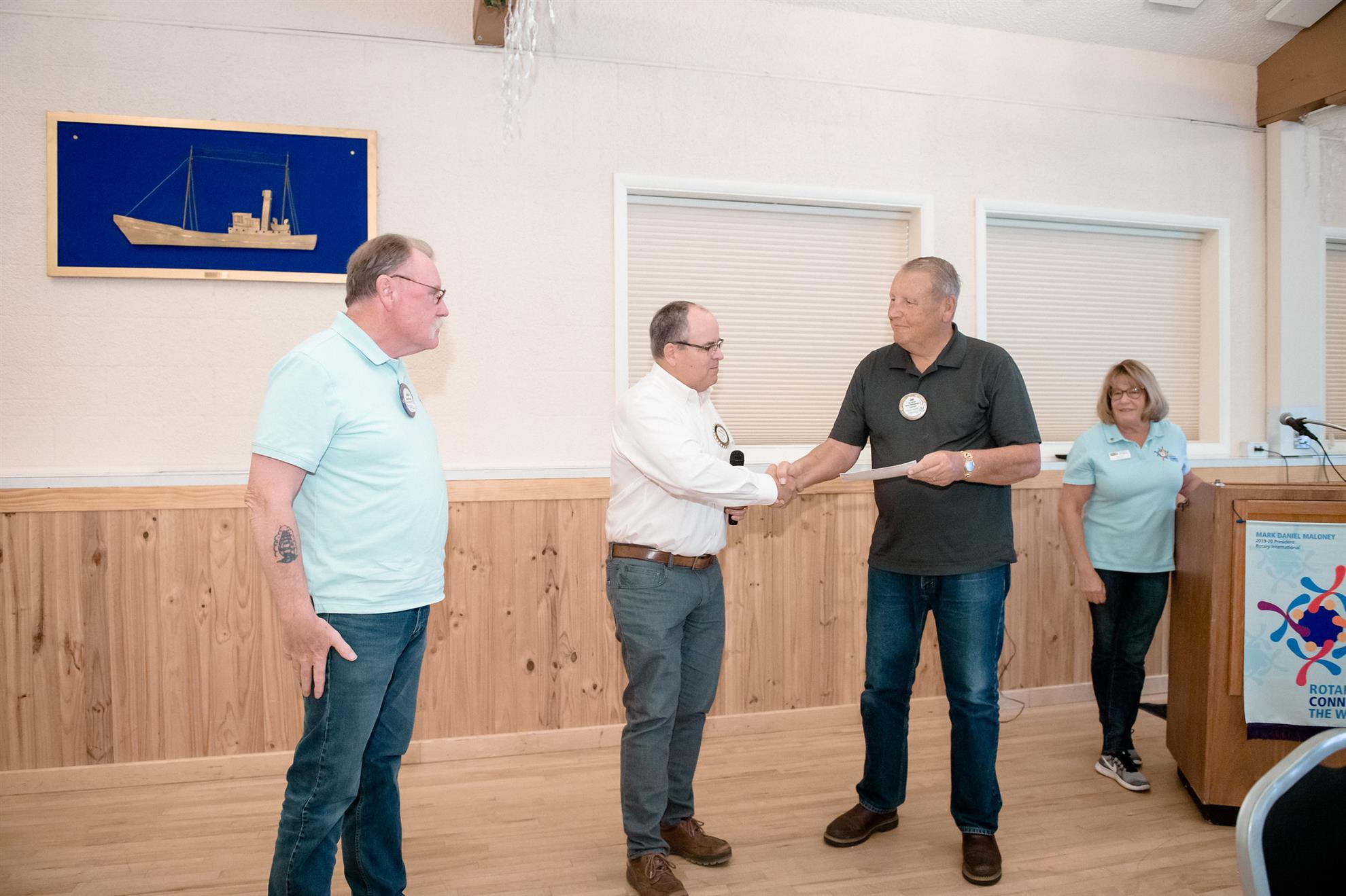 Dan Ryan presents check to Shields brothers
