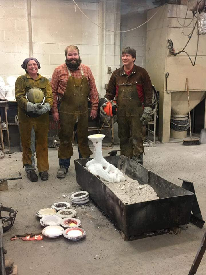 Foundry staff and the base piece donated by Shine Quarry