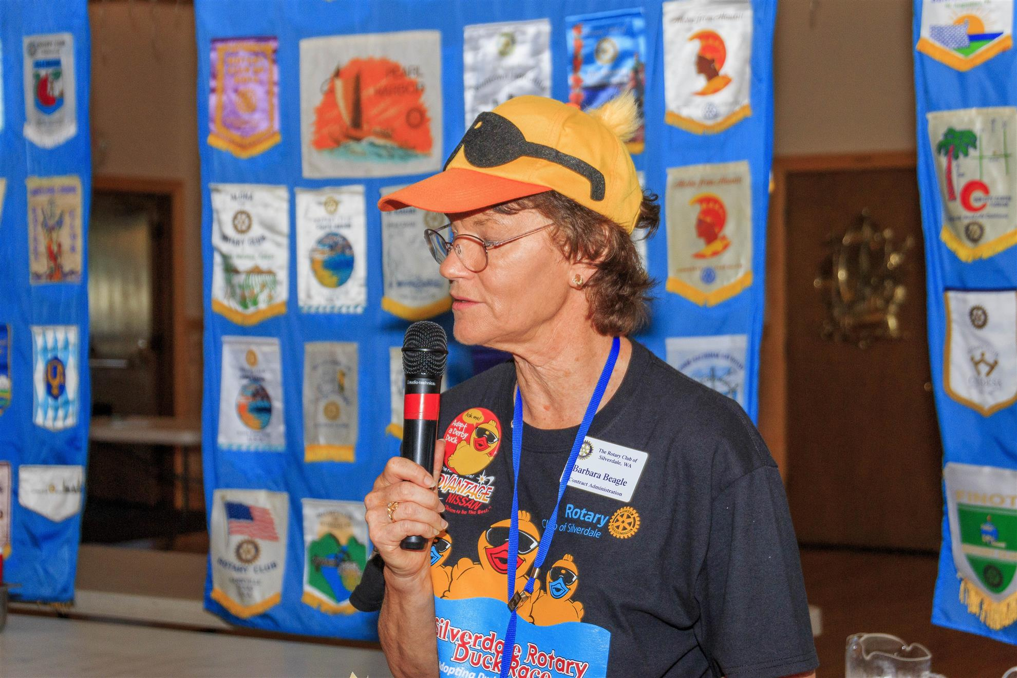 Barbara Beagle challenges club members to support Silverdale Rotary's Duck Race