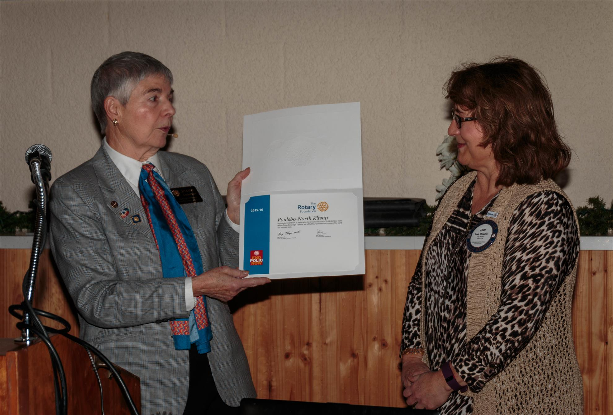 Lori Cloutier receives award from District Governor Joanne Croghan