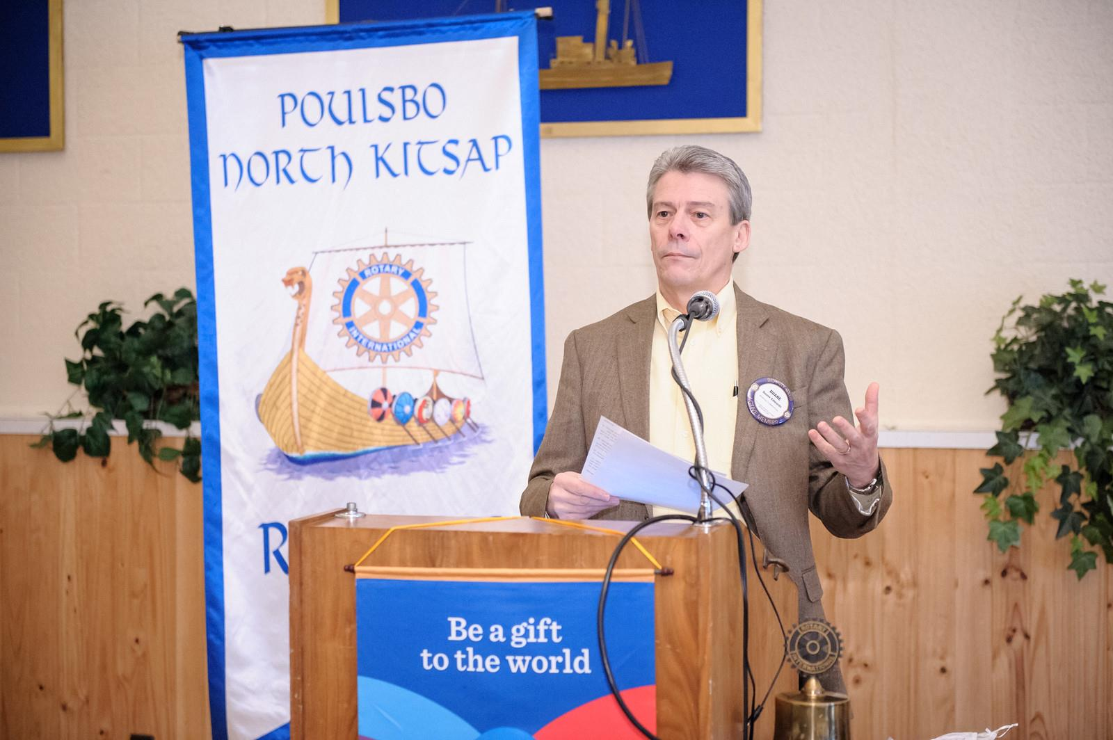 Duane Edwards reports to the club about the Poulsbo North Kitsap Rotary Foundation