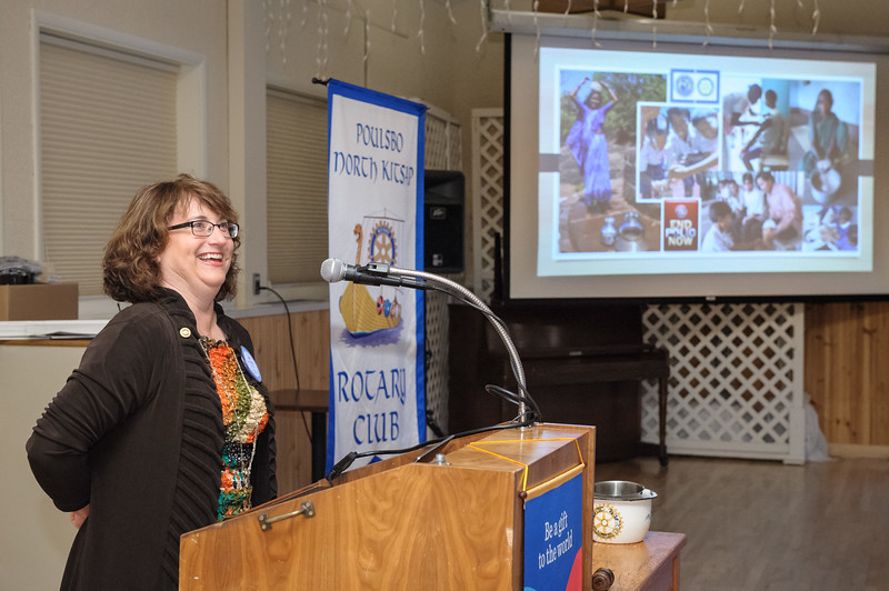 Poulsbo Rotary Foundation Chair Lori Coutier presents information about The Rotary Foundation