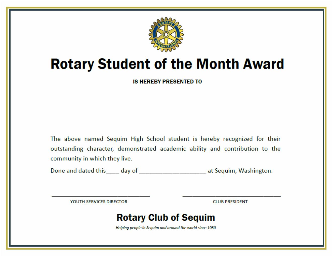 Student Of The Month Rotary Club Of Sequim