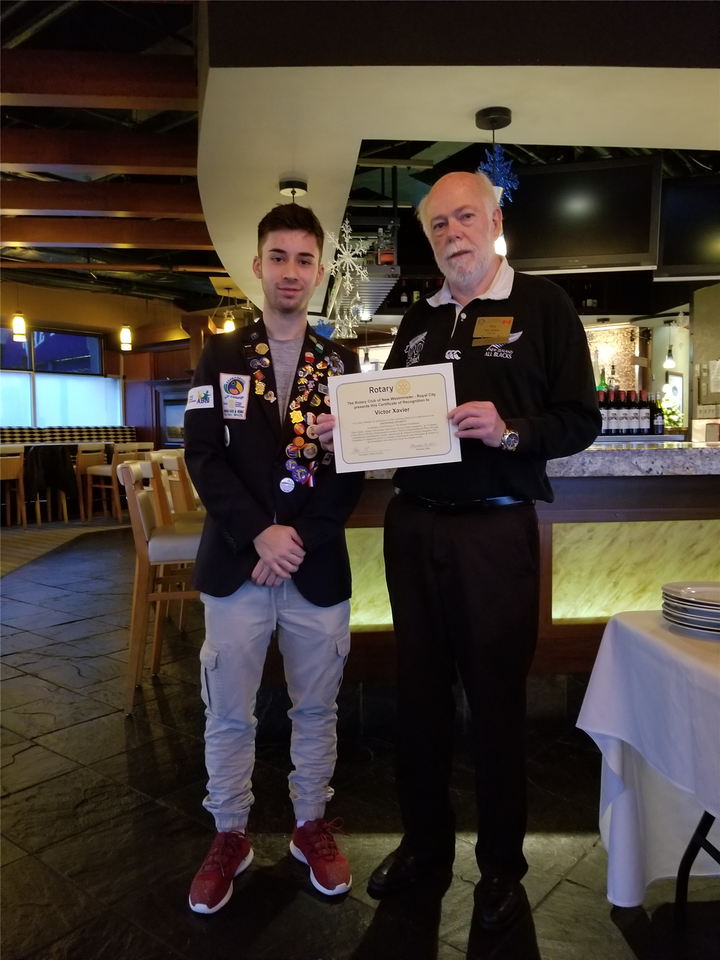 Stories Rotary Club Of New Westminster Royal City X8 Kendrick T Shirt Size S Rick Thanks Victor For His Presentation About Brazil And Family