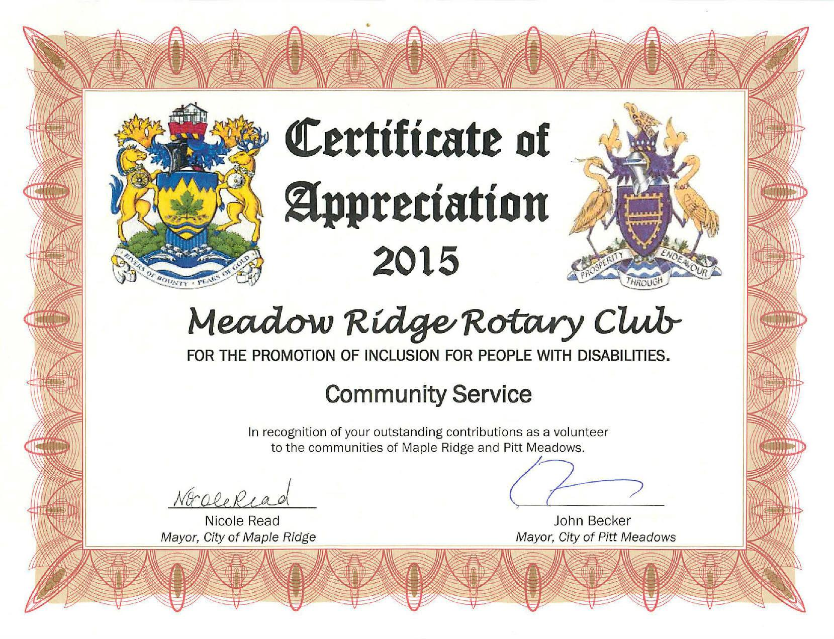 Home page rotary club of meadow ridge for Rotary certificate of appreciation template