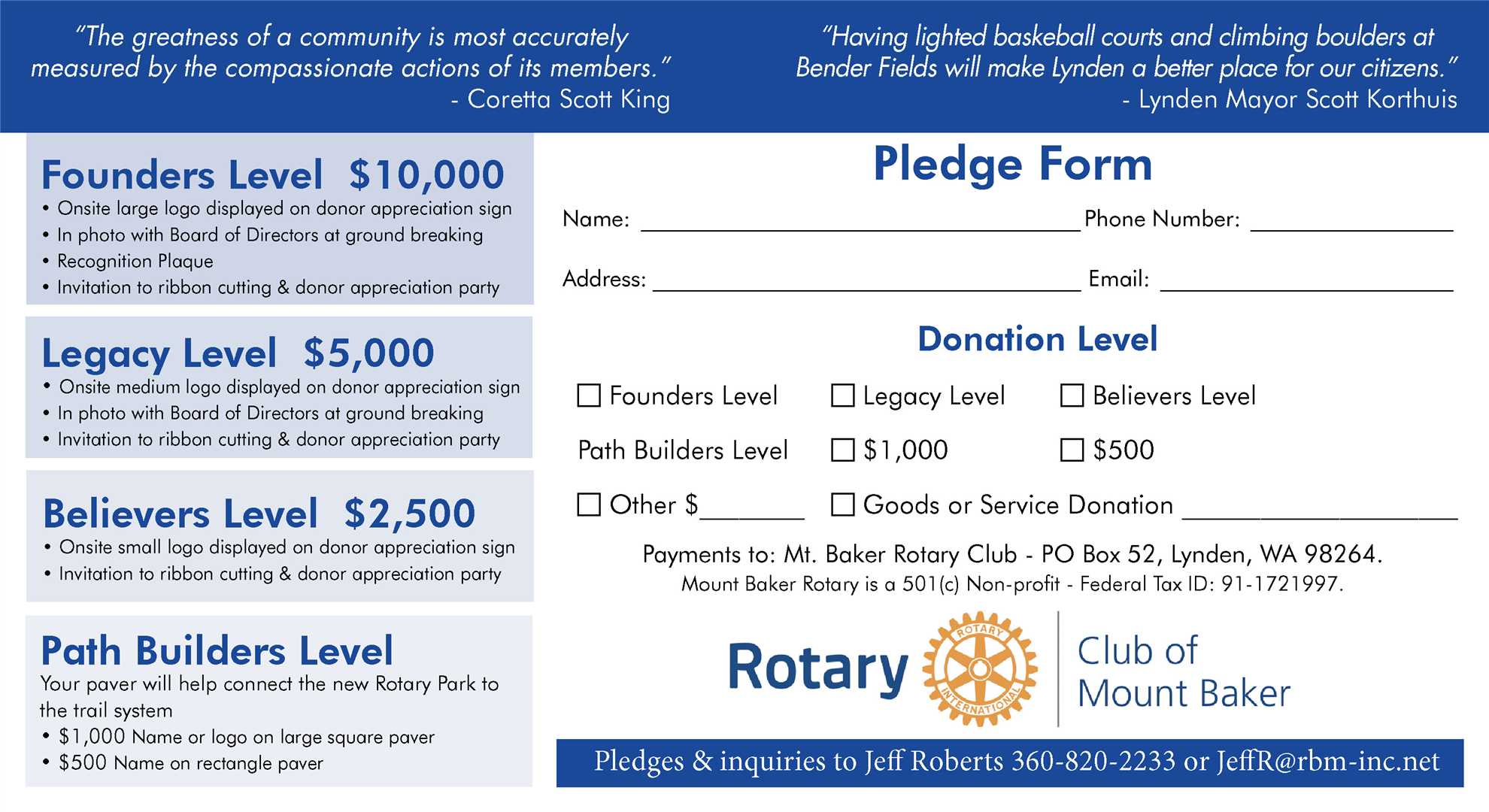 Rotary Sports Park Pledge Card