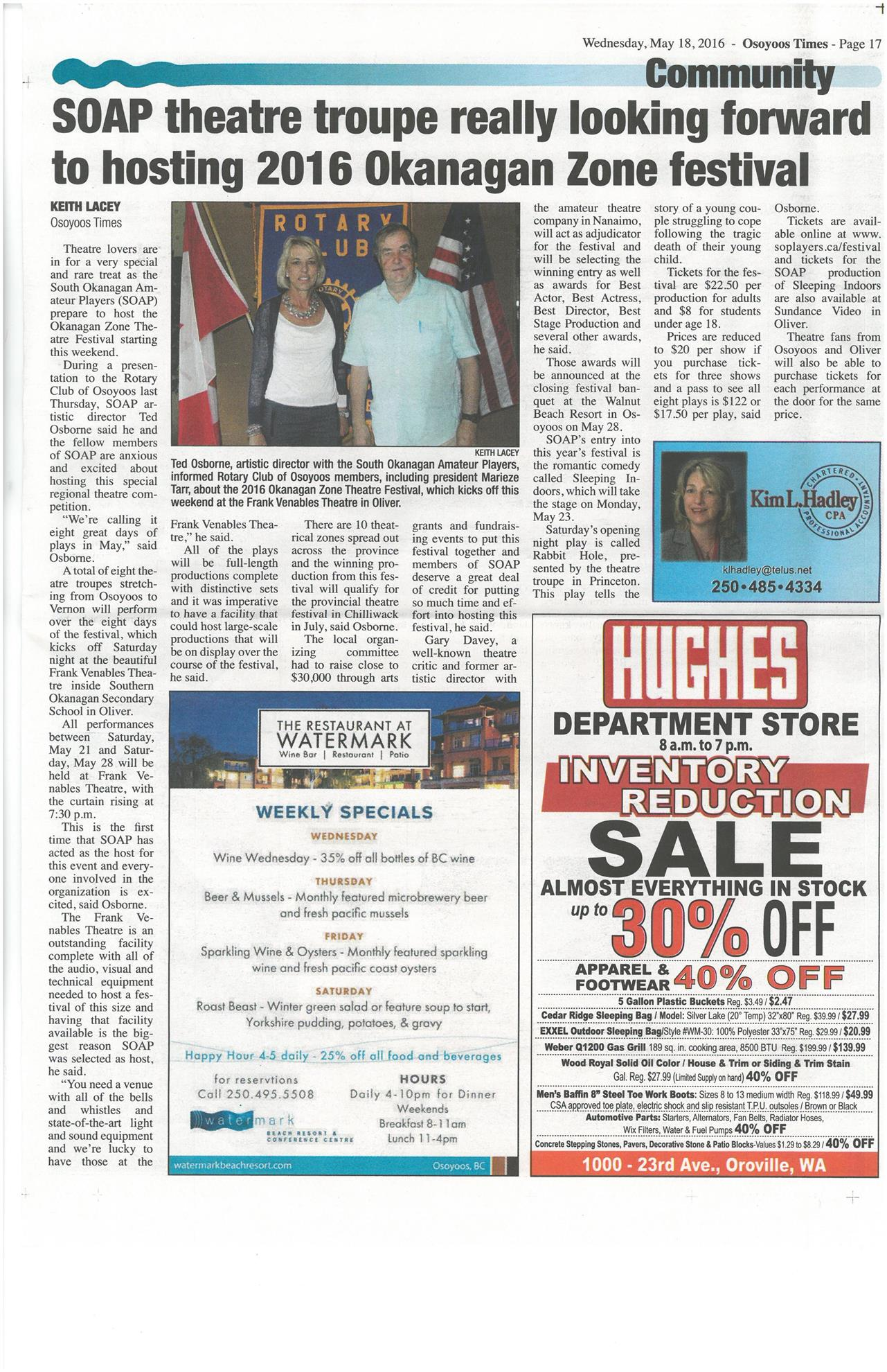 Newspaper Articles | Rotary Club of Osoyoos