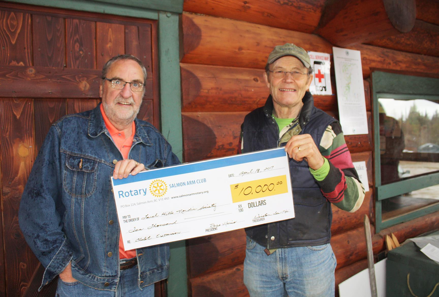 Presenting Larch Hills Hut Cheque
