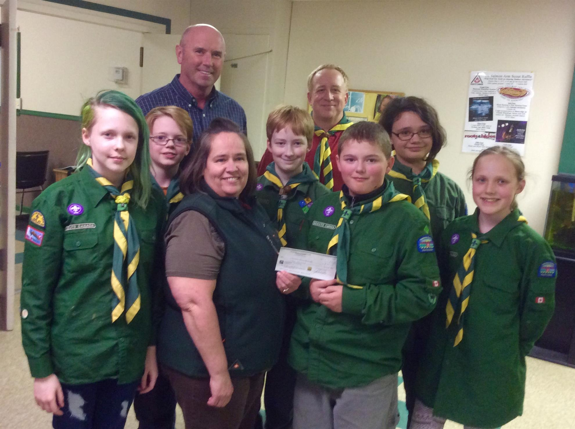 Presenting Scouts Cheque