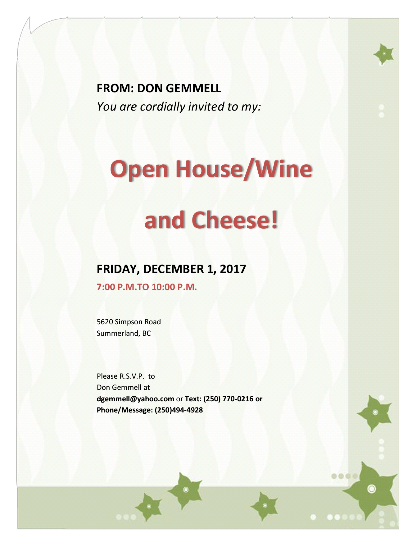 Invitation Open HouseWine and Cheese Rotary Club of Summerland