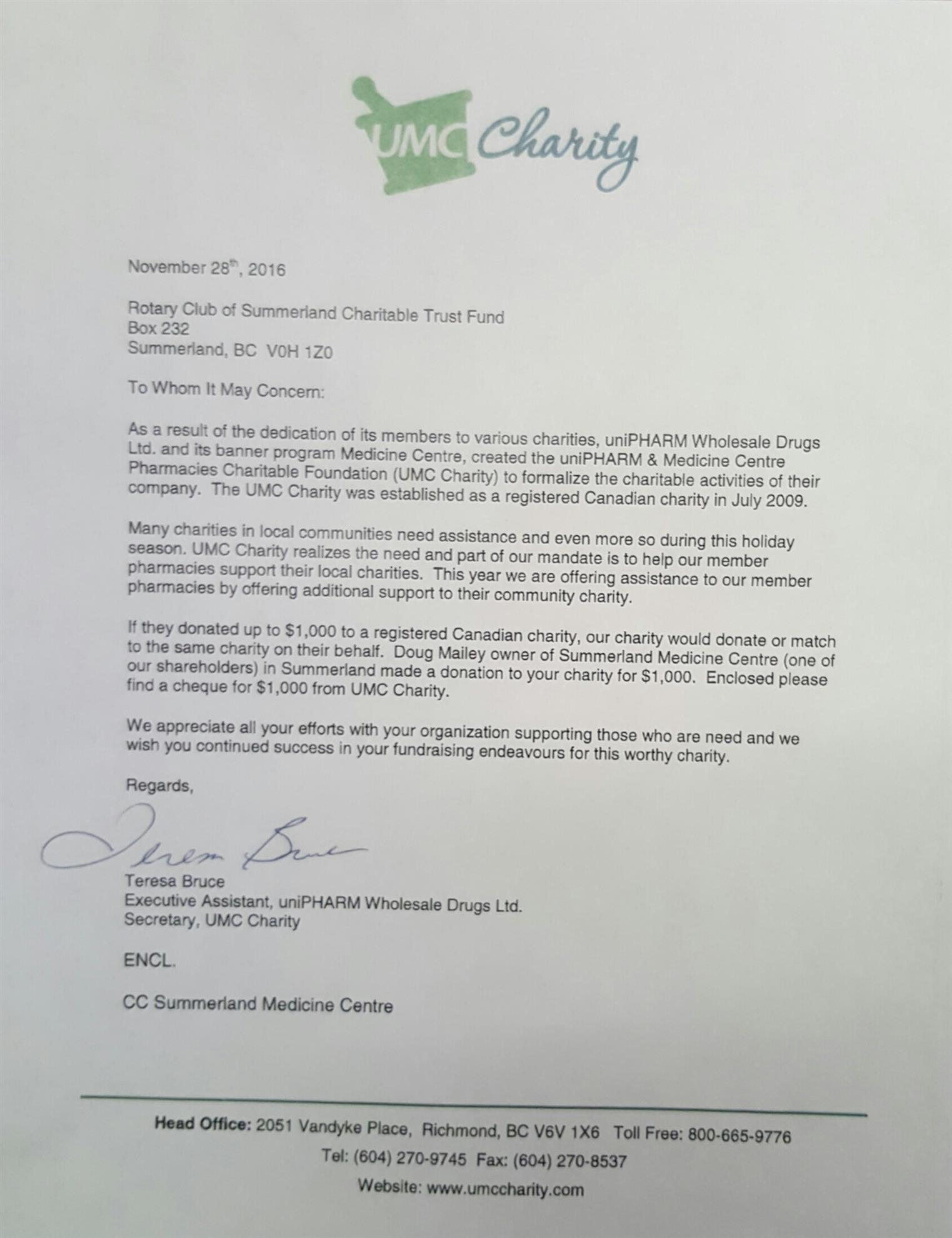 Another generous donation from doug mailey rotary club of summerland the club received the following letter from umc charity see below thank you for your generous donation of 2000 doug it is appreciated aljukfo Image collections