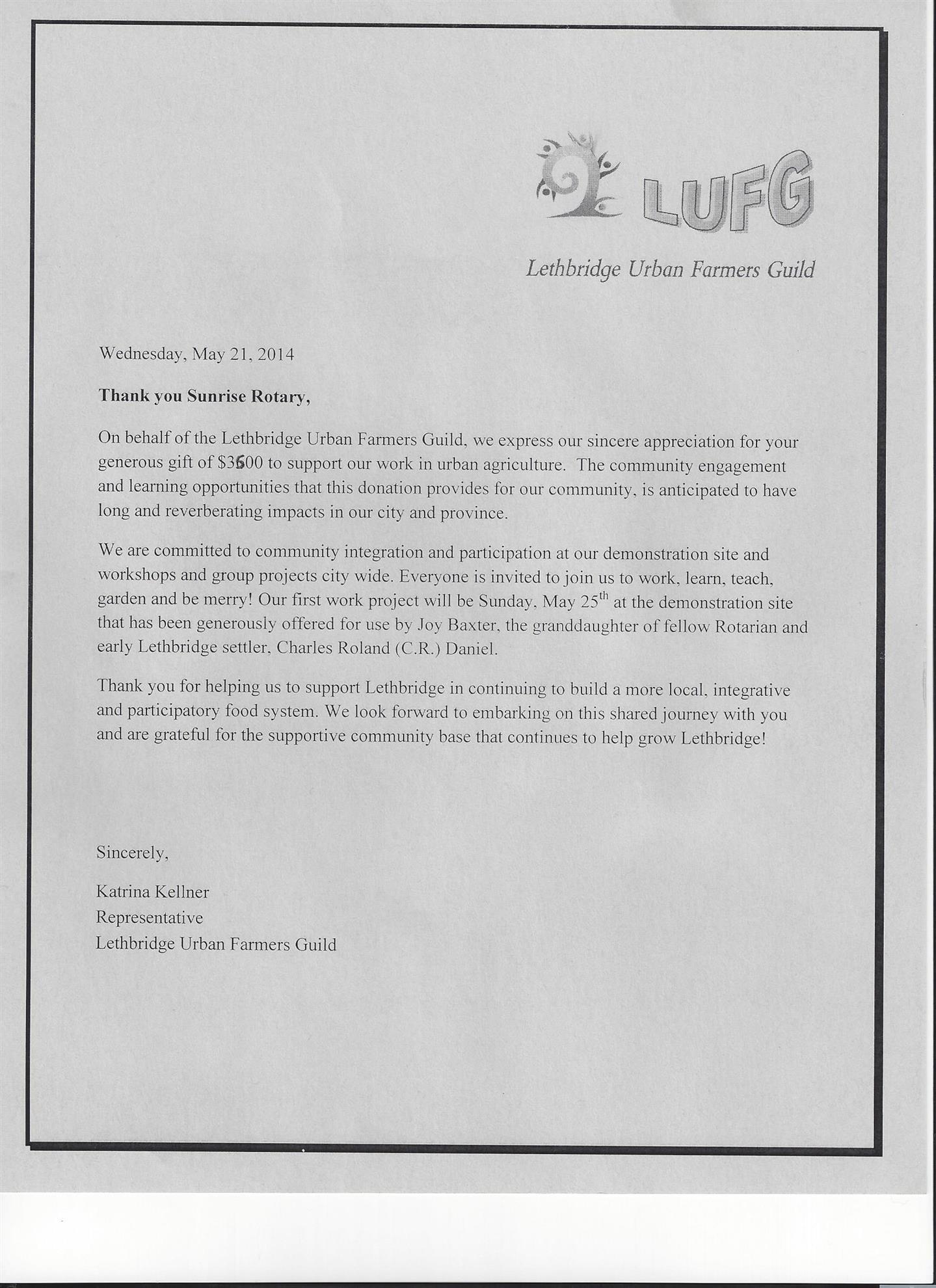 Katrina Kellner thanks Sunrise Rotary | Rotary Club of Lethbridge