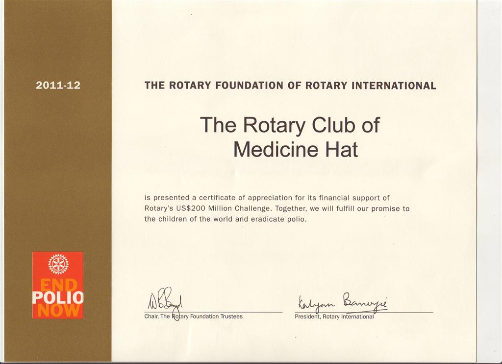 Certificate Of Appreciation From Ri Rotary Club Of Medicine Hat