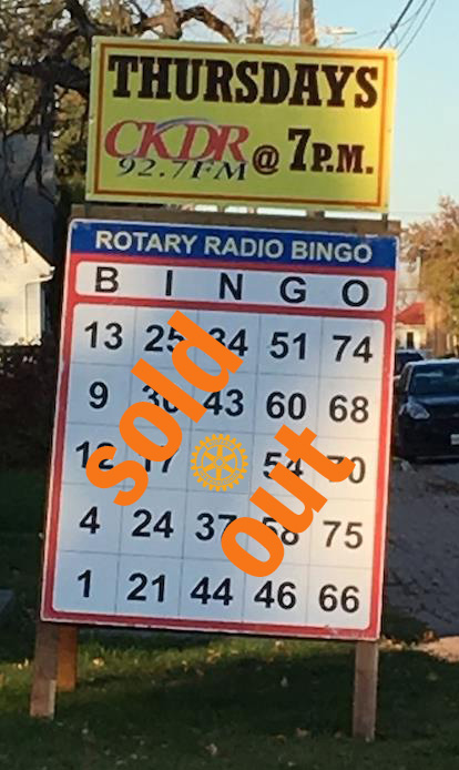 Dryden Rotary Radio Bingo Sold Out
