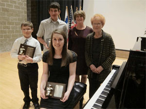 L-R Matthew Leutschaft, Nathan Peters, Hailey Gilmour, & teachers Heather Spoozak,  & Rena Fotheringham