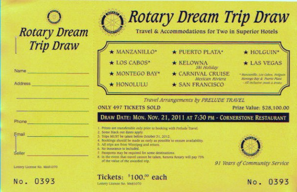 Thanks To All Who Purchased A TICKET FOR THE ROTARY DREAM VACATION DRAW