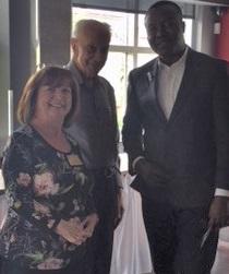 RCOS President Joan Hunter and Paramjit Bhoi with Olagoke Fanimehin