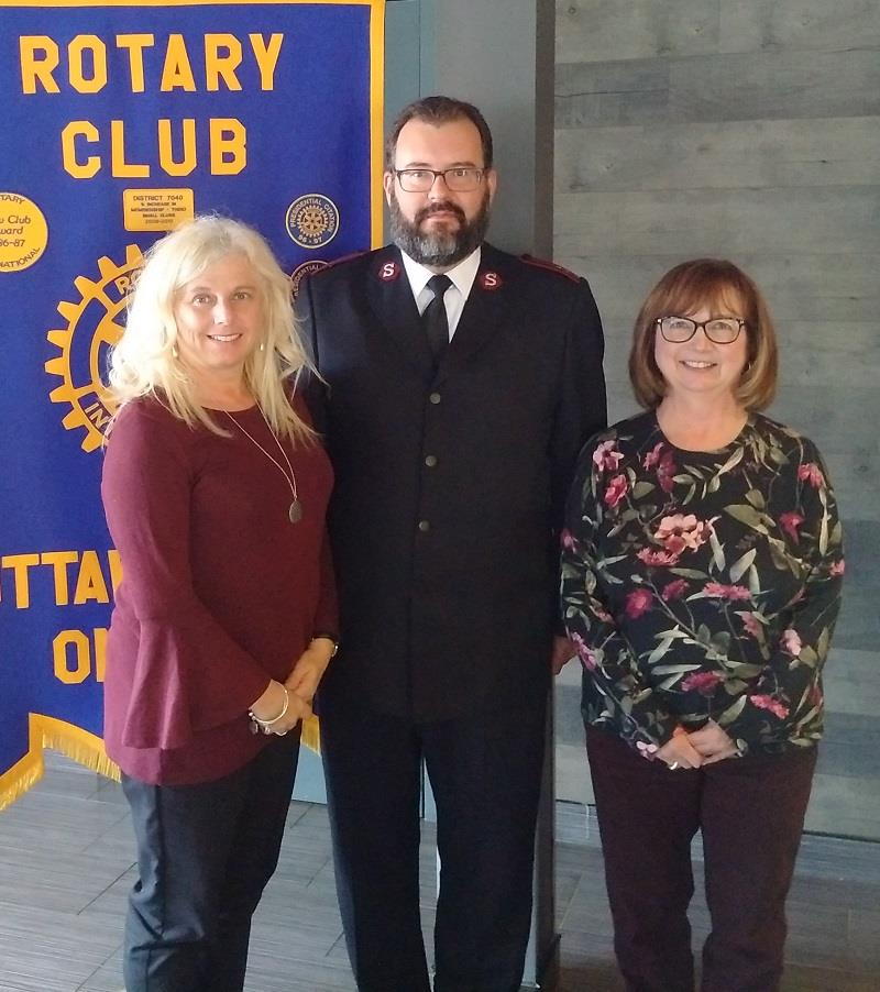 Ottawa Citadel Salvation Army give Kettle campaign presentation to Rotary Club of Ottawa South