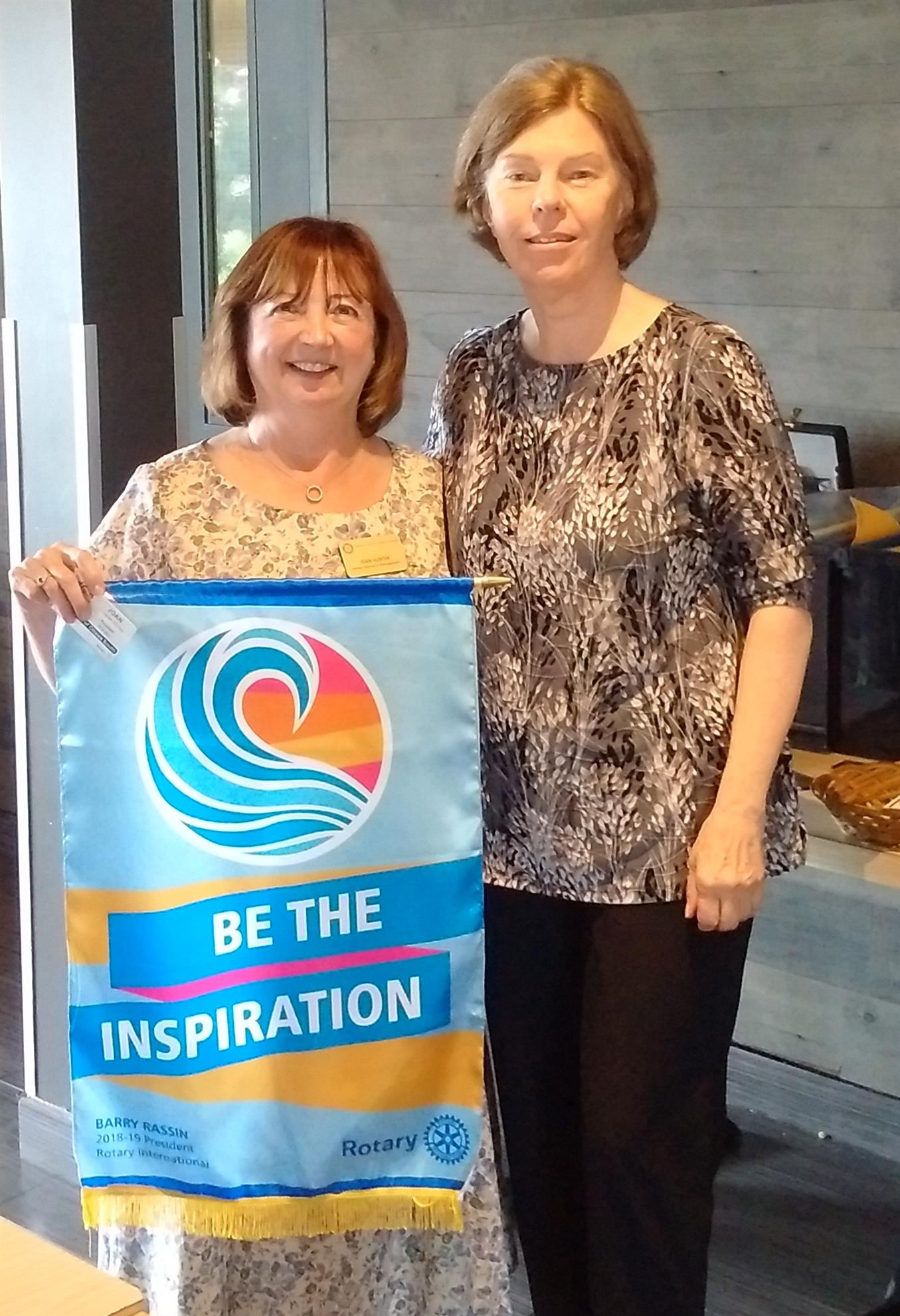 Rotary District 7040 Governor Martha Weaver with Rotary Ottawa South President Joan Hunter