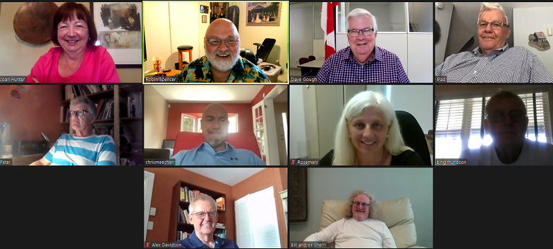 Screen capture of July 14 Zoom meeting for Rotary Club of Ottawa South.