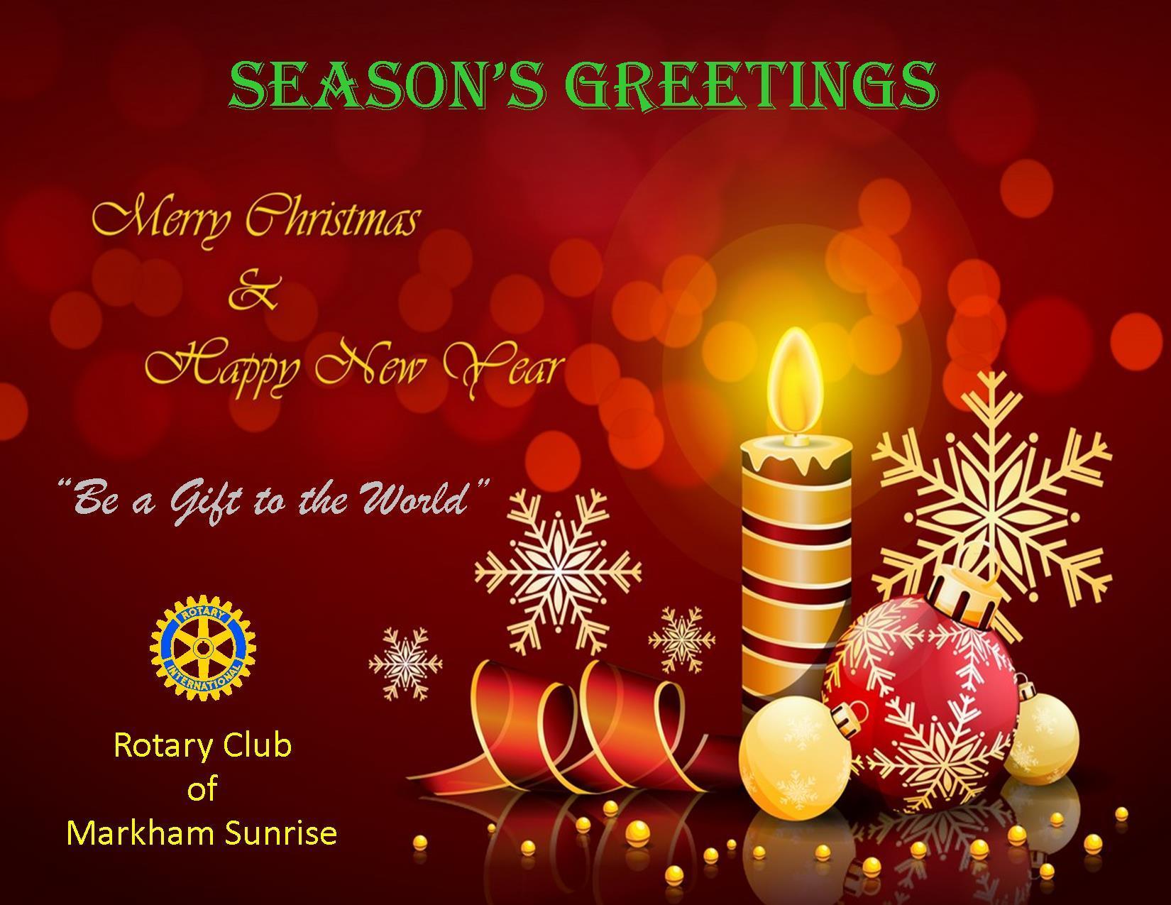 2015 Seasons Greetings Rotary Club Of Markham Sunrise Inc
