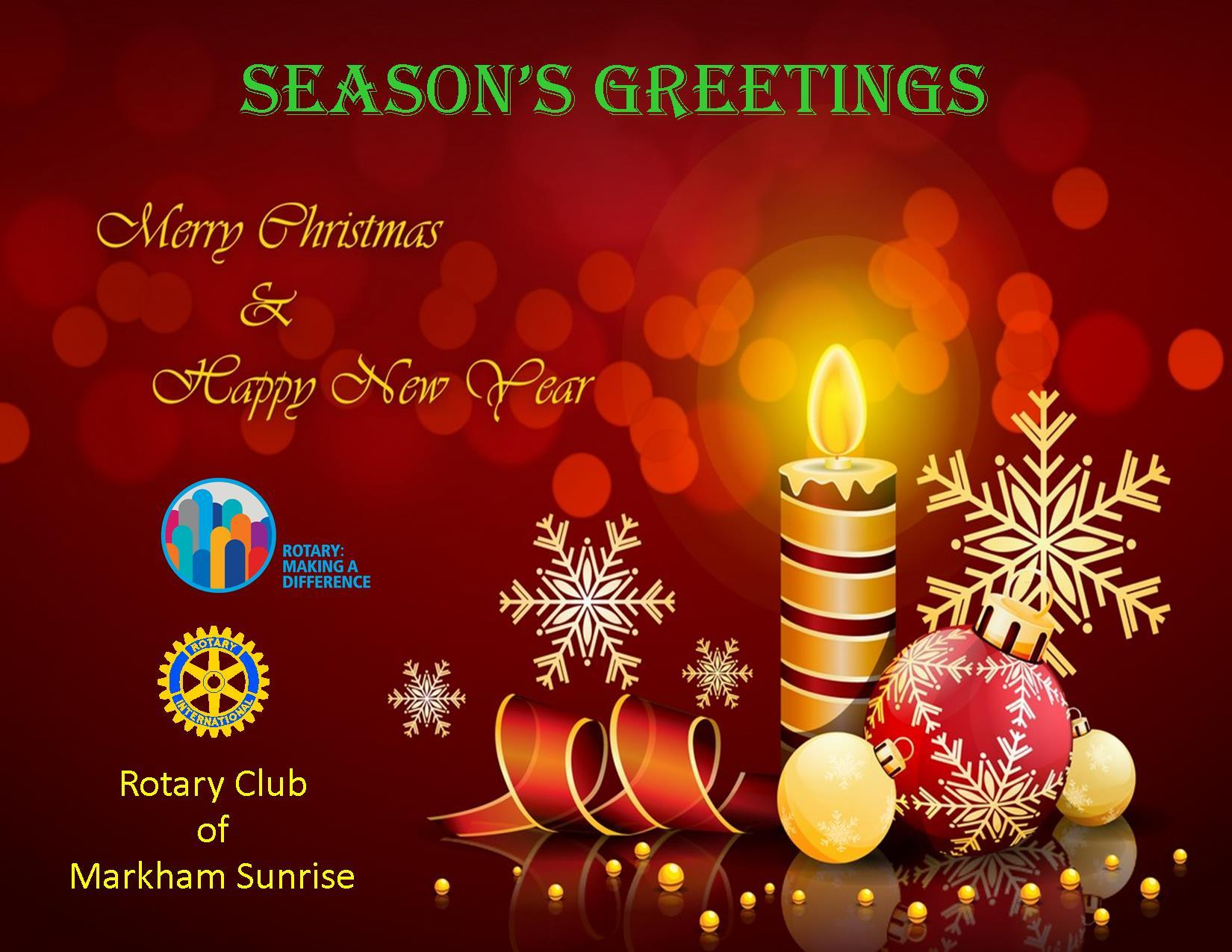 2017 Seasons Greetings Rotary Club Of Markham Sunrise Inc